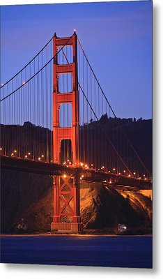 View Of Golden Gate Bridge At Dusk San Metal Print by Stuart Westmorland