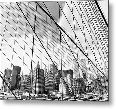 View Of New York From Brooklyn Bridge, Usa Metal Print by Martin Child