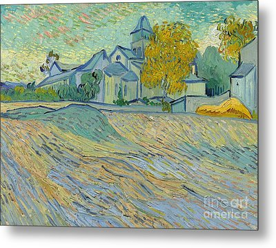 View Of The Asylum And Chapel At Saint Remy Metal Print by Vincent Van Gogh
