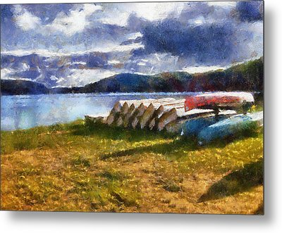 Metal Print featuring the painting View Of The Lake From Camp Dorset by Mario Carini