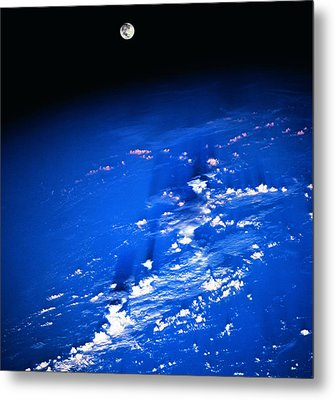 View Of The Moon Above The Earth Metal Print by Stockbyte