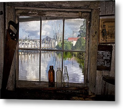 View Through Fish House Window Metal Print by Sandra Anderson