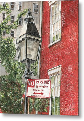 Village Lamplight Metal Print by Debbie DeWitt