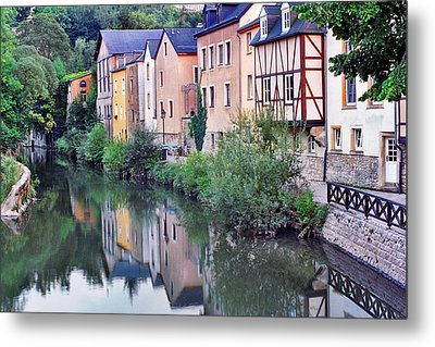 Village Reflections In Luxembourg I Metal Print by Greg Matchick