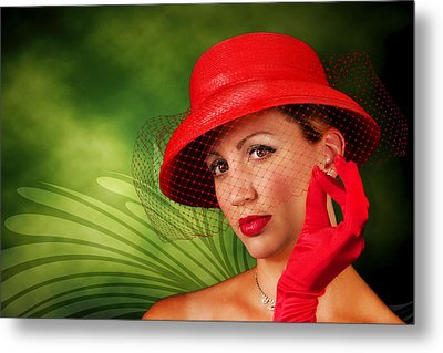 Vintage - Red Hat Lady Metal Print by Trudy Wilkerson