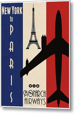 Vintage Air Travel Paris Metal Print by Cinema Photography