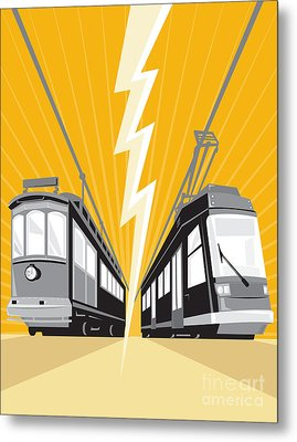 Vintage And Modern Streetcar Tram Train Metal Print by Aloysius Patrimonio