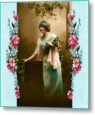 Vintage Aqua Metal Print by Mary Morawska