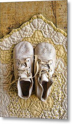Vintage Baby Shoes On Yellow Quilt Metal Print