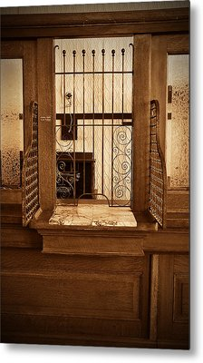Metal Print featuring the photograph Vintage Bank Teller Station by Valerie Garner