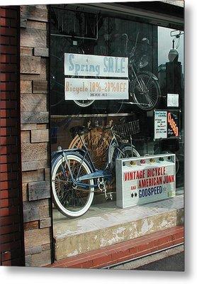 Vintage Bicycle And American Junk  Metal Print by Anna Ruzsan