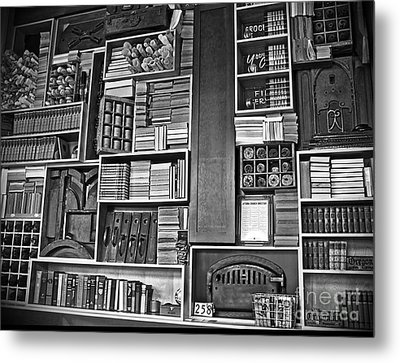 Metal Print featuring the photograph Vintage Bookcase Art Prints by Valerie Garner