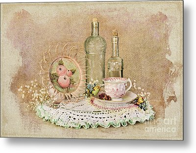Vintage Bottles And Teacup Still-life Metal Print