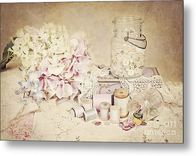 Metal Print featuring the photograph Vintage Buttons And Thread by Cheryl Davis