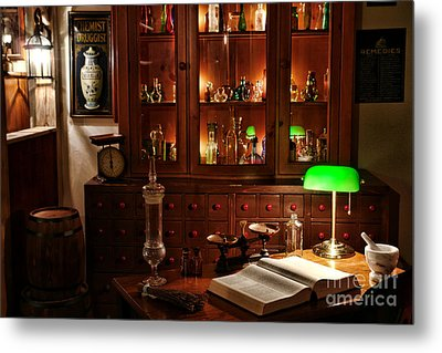 Vintage Chemist Desk In Apothecary Shop Metal Print
