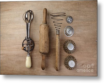 Vintage Cooking Utensils Metal Print by Nailia Schwarz