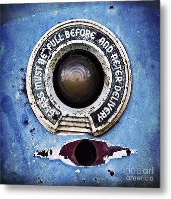 Vintage Detail Of A Gas Pump Metal Print by Priska Wettstein