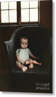 Vintage Dolls On Chair In Dark Room Metal Print by Sandra Cunningham