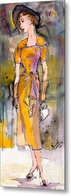 Vintage Fashion Girl In A Black Hat  Metal Print by Ginette Callaway