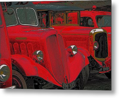 Vintage Fire Truck Techno Art Metal Print by Tony Grider