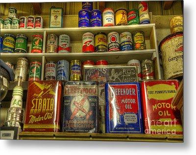 Vintage Garage Oil Cans Metal Print by Bob Christopher