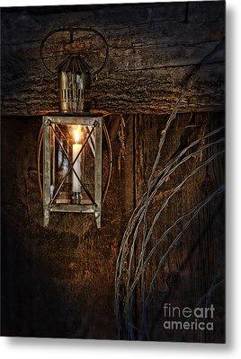 Vintage Lantern Hung In A Barn Metal Print by Jill Battaglia