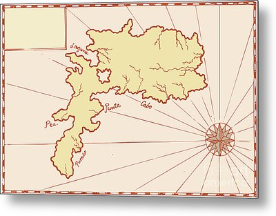 Vintage Map Of Island Metal Print by Aloysius Patrimonio