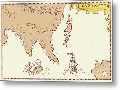 Vintage Map Treasure Island Tall Ship Whale Metal Print by Aloysius Patrimonio