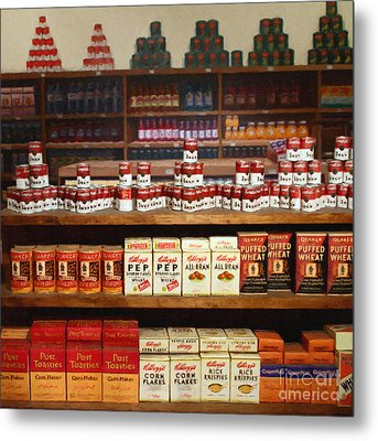 Vintage Mom And Pop Grocery Store - 7d17402 Metal Print by Wingsdomain Art and Photography
