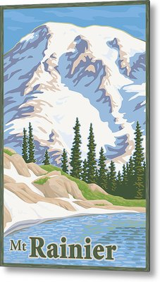 Vintage Mount Rainier Travel Poster Metal Print by Mitch Frey