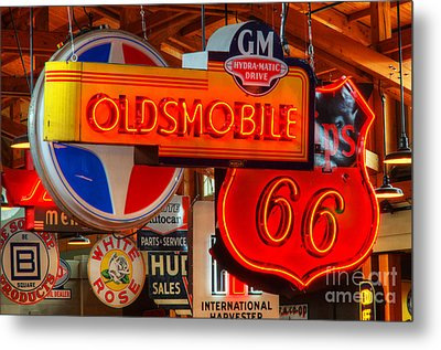 Vintage Neon Sign Oldsmobile Metal Print by Bob Christopher