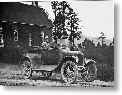 Vintage Photo Of Men In Truck Metal Print by Susan Leggett