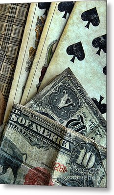 Vintage Playing Cards And Cash Metal Print by Jill Battaglia