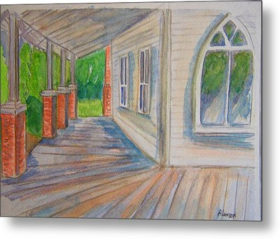 Metal Print featuring the painting Vintage Porch With Gothic Window by Belinda Lawson