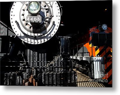 Vintage Railroad Locomotive Trains In The Train House . 7d11633 Metal Print by Wingsdomain Art and Photography