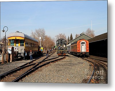 Vintage Railroad Trains In Old Sacramento California . 7d11513 Metal Print by Wingsdomain Art and Photography