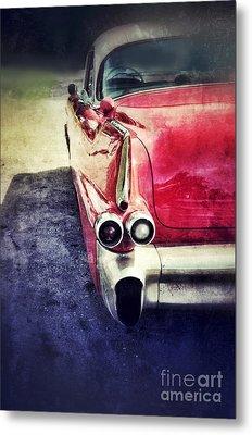 Vintage Red Car Metal Print by Jill Battaglia