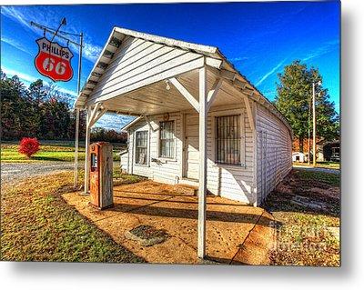 Vintage Rural One Pump Gas Station Metal Print by Dan Carmichael