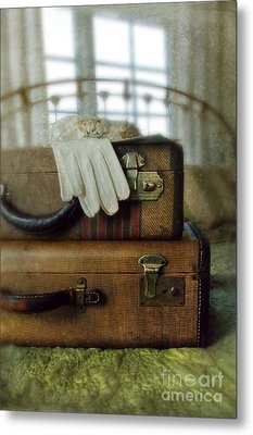 Vintage Suitcases On Brass Bed Metal Print by Jill Battaglia