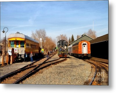 Vintage Trains At The Old Sacramento Train Depot . 7d11513 Metal Print by Wingsdomain Art and Photography