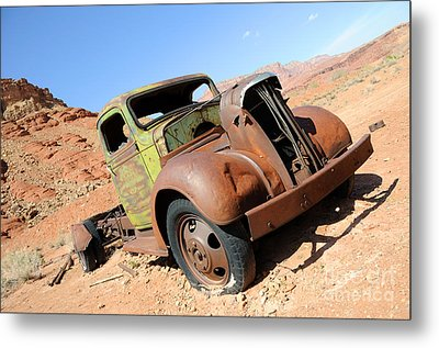 Vintage Truck At Lonely Dell Ranch Metal Print by Gary Whitton