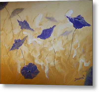 Violet Poppies Metal Print