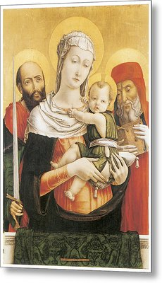 Virgin And Child With Saints Paul And Jerome Metal Print by Bartolomeo Vivarini