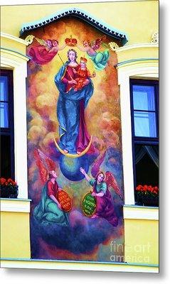 Virgin Mary Mural Metal Print by Mariola Bitner
