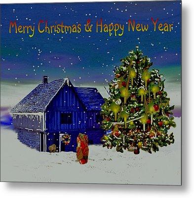 Visit From Santa Christmas Greeting Metal Print by Julie Grace