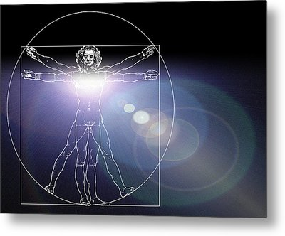 Vitruvian Man With Flare In Chest Metal Print by Laguna Design