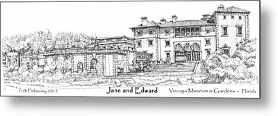 Vizcaya For Jane And Edward Metal Print by Building  Art