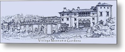 Vizcaya Museum And Gardens In Blue  Metal Print by Building  Art