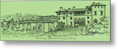 Vizcaya Museum In Olive Green Metal Print by Adendorff Design