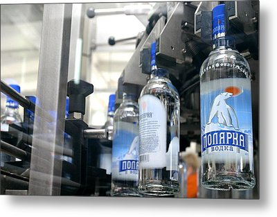 Vodka Bottling Machine Metal Print by Ria Novosti